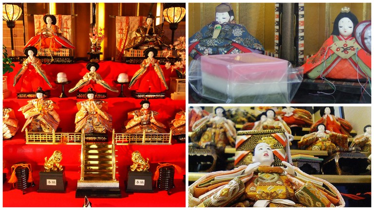 An elaborate china doll display | © Kentaro Ohno / Flickr / Hishi mochi and hina dolls | © Midor / WikiCommons / Closeup of hina doll | © Ryosuke Hosoi / Flickr
