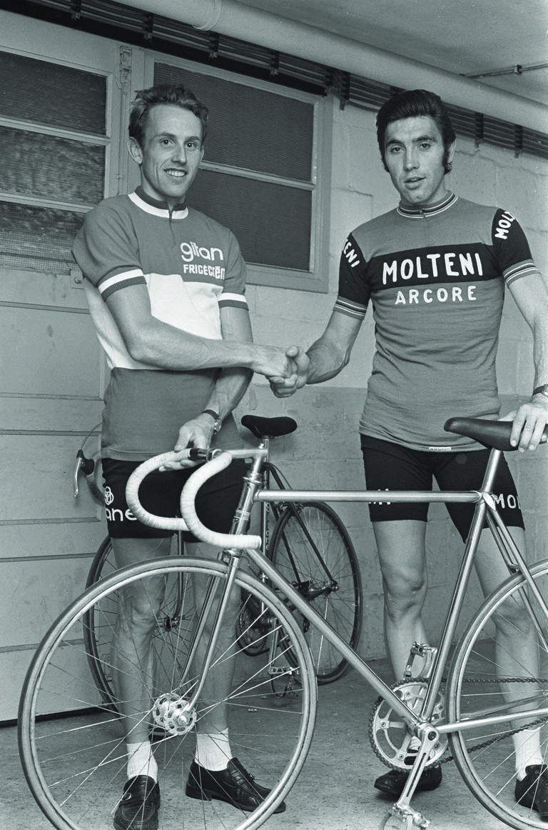 Eddy Merckx shaking hands with Joop Zoetemelk in his Molteni jersey | Courtesy of Thames & Hudson