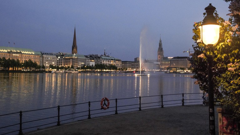 Binnenalster in Hamburg in the late evening