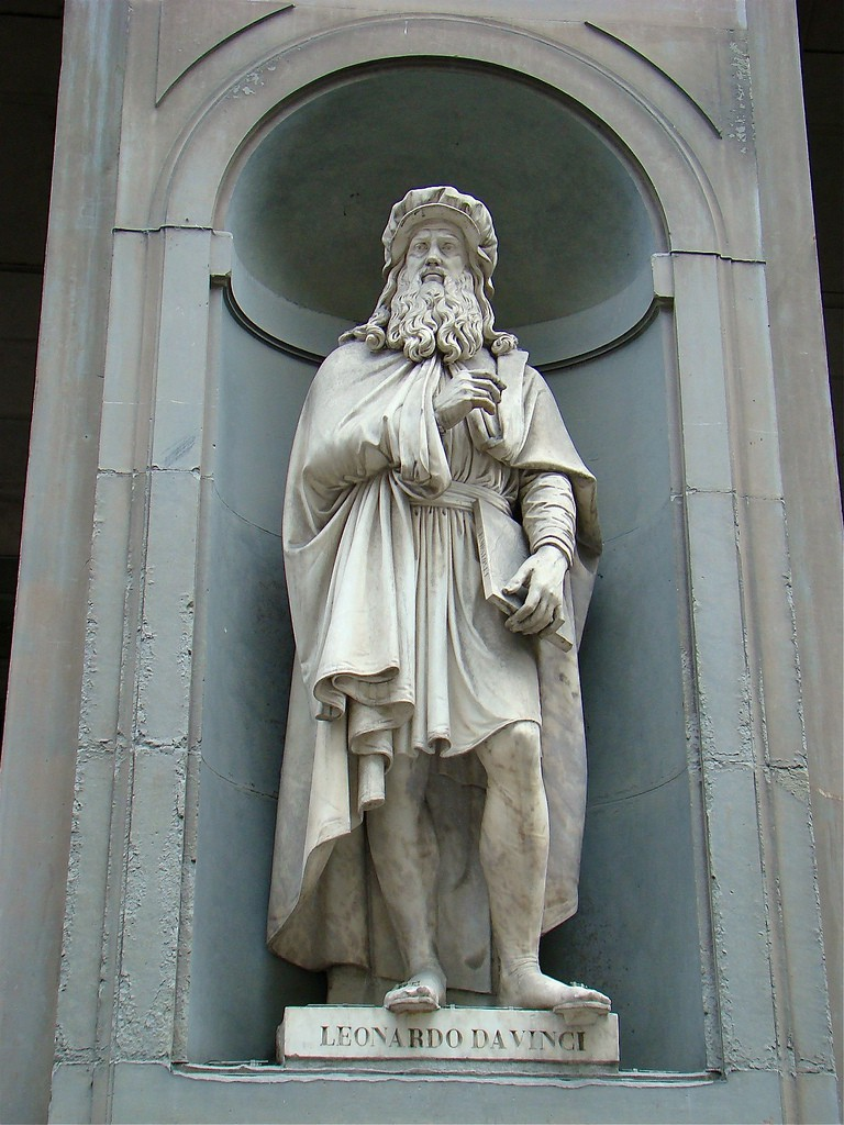 Leonardo Da Vinci outside of the Uffizi Gallery, Bob Hall, Flikr