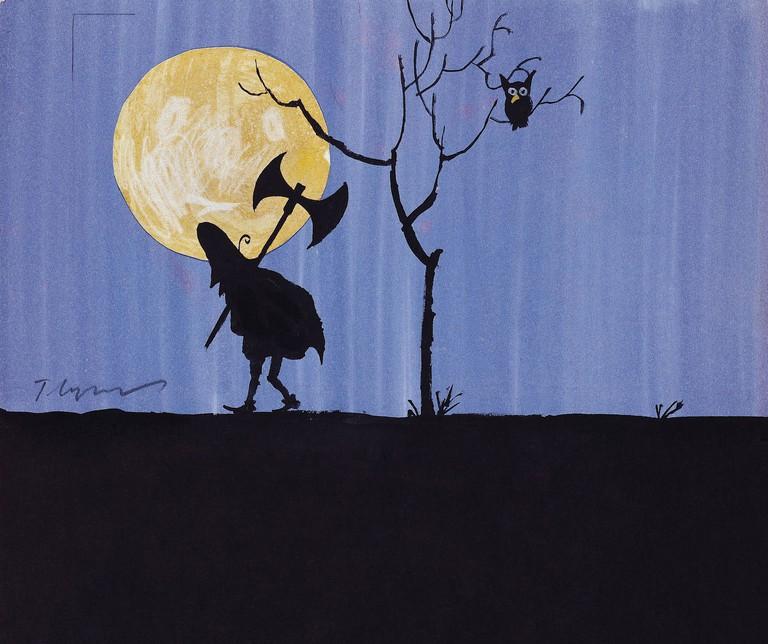 Detail of untitled ink on paper illustration by Tomi Ungerer for Les Trois Brigands, 1961, . Collection Musée Tomi Ungerer © Diogenes Verlag AG Zurich/ Tomi Ungerer. Photo : M.Bertola