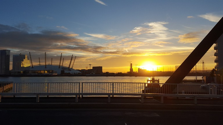 The o2 at sunset