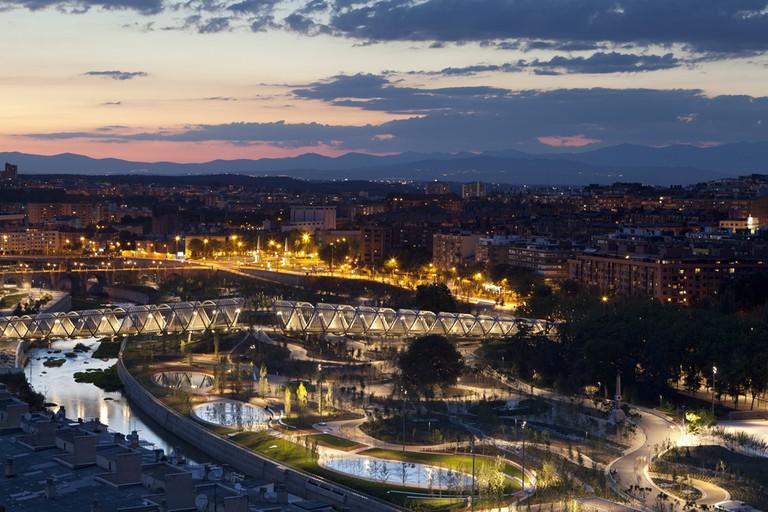 Madrid Río at dusk