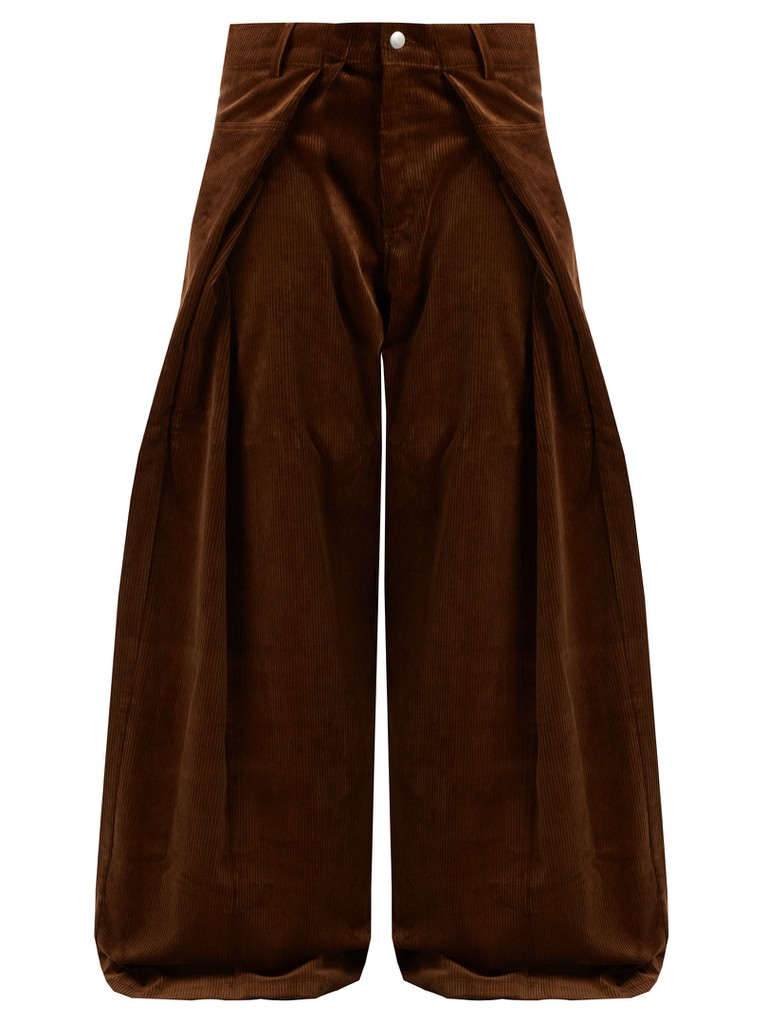 Fold-front wide-leg cotton-corduroy trousers by Martin Rose | Courtesy of Matches Fashion