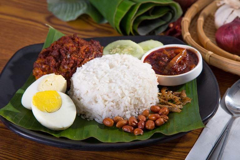 Nasi Lemak is traditionally served wrapped in a banana leaf