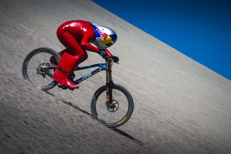 Markus Stoeckl in full flight at the Atacama Desert, Chile | Courtesy of the Red Bull Content Pool