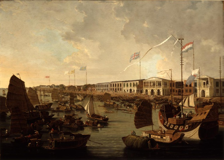 Early Views of Canton's Harbor and Foreign Quarter by Thomas and William Daniell