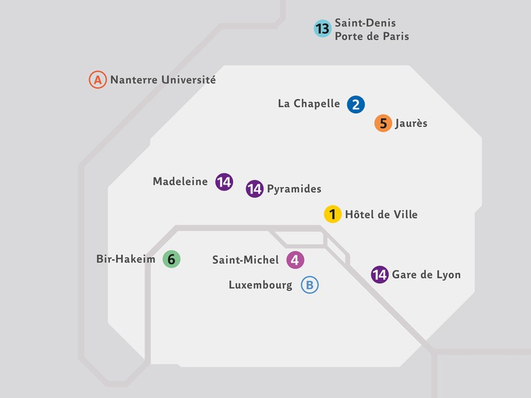 Map of the 11 RATP Stations exhibiting the Magnum Photos