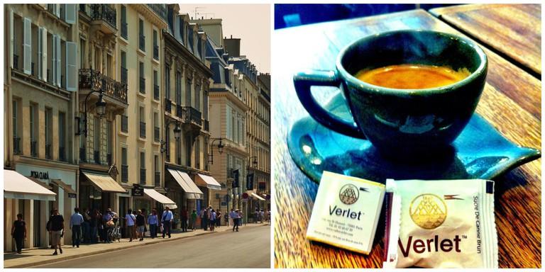 Rue Saint-Honoré │© wowo2008 / WikiCommons ; Café Verlet │© Delaney Turner / Flickr