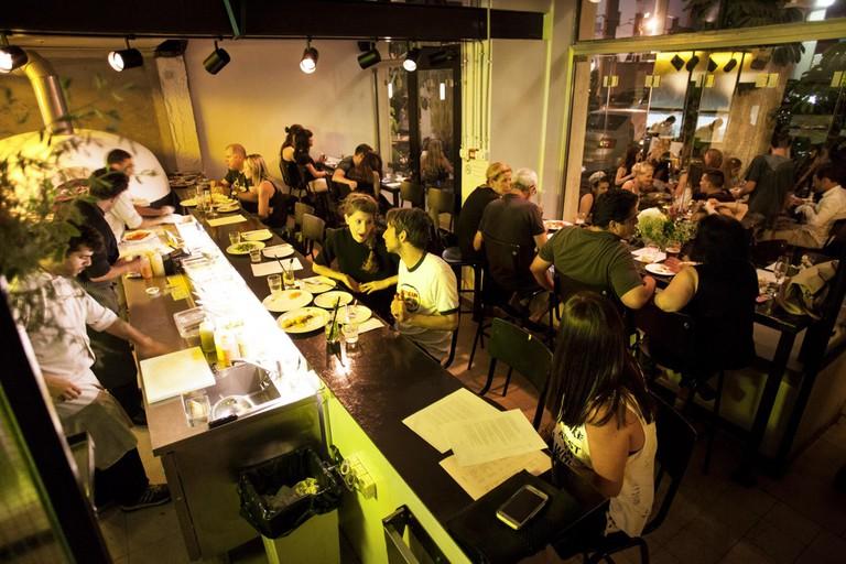 Notice the tabun on the left side of the edge of the bar? Tel Aviv's Santa Katarina's menu revolves around the ancient stone oven