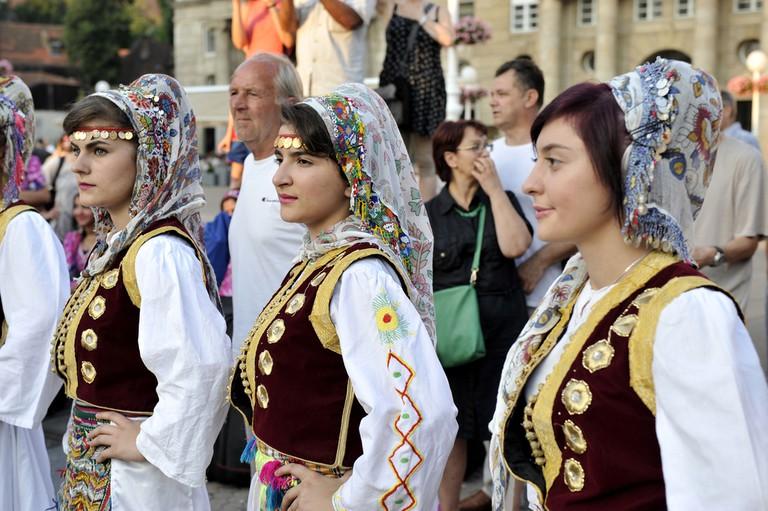 Folk group Albanian Culture Society Jahi Hasani from Cegrane, Macedonia © Zvonimir Atletic / Shutterstock