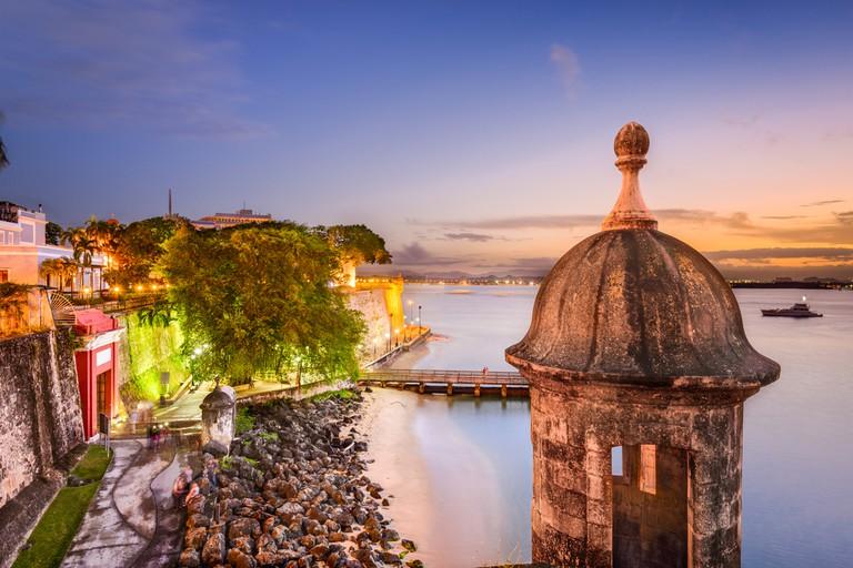 San Juan, Puerto Rico old city wall on the Caribbean Sea   © Sean Pavone/Shutterstock