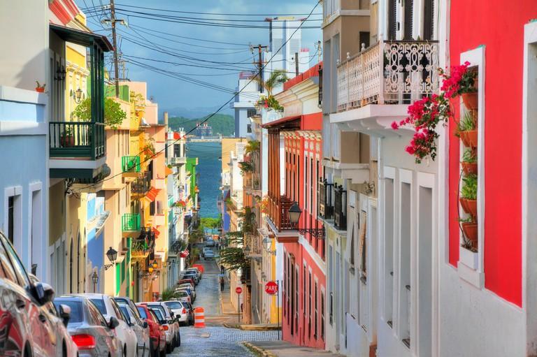 Beautiful typical traditional vibrant street in San Juan, Puerto Rico   © Dennis van de Water/Shutterstock