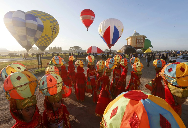 Performers wearing hot air balloon costumes