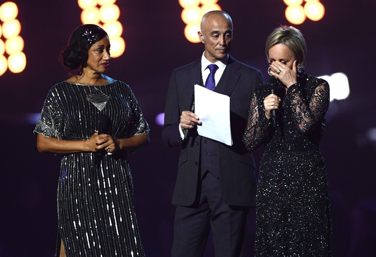 Pepsi DeMacque, Andrew Ridgeley and Shirlie Holliman get emotional | ©David Fisher/REX/Shutterstock