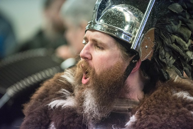 "Guizer Jarl Lyall Gair for Up Helly-Aa 2017 - Guizer Jarl Lyall Gair as ""Sweyn 'Forkbeard' Haraldsson"" with his Galley ""Falcon"" 31 Jan in Lerwick, Shetland The Jarl Squad at the Market Cross, Lerwick for Up Helly-Aa 2017 