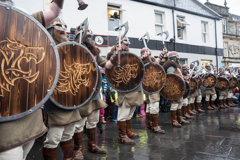 The Jarl Squad at the Market Cross, Lerwick for Up Helly-Aa 2017 | © Austin Taylor / VisitScotland
