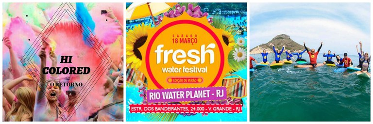 The colour party |© Hi Coloured Edicao | Electronic music water park party |© Freshwater Festival | Surfing trip |© Rio Surf n Stay