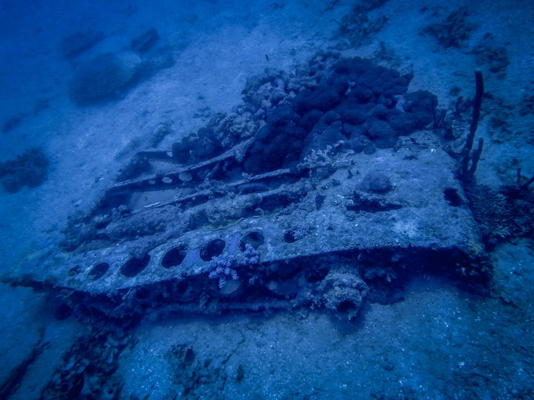 The wreck of the B26 Bomber off Fiji's Beachcomber Island | ©Juliette Sivertsen