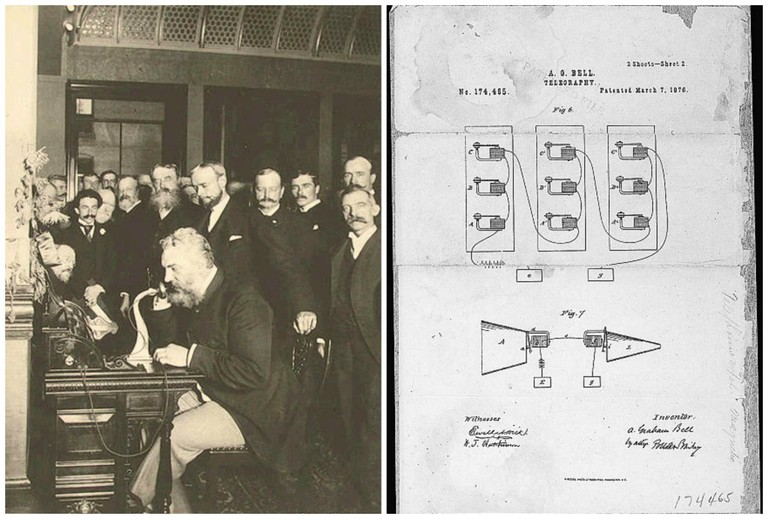 Alexander Graham Bell Calling Chicago From New York In 1892 | © WikiCommons // Telephone Patent Drawing By Alexander Graham Bell | © WikiCommons