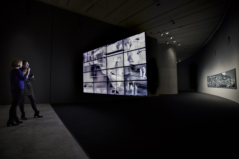 Installation view of 'Incoming' by Richard Mosse in collaboration with Trevor Tweeten and Ben Frost at The Curve, Barbican Centre, 2017 | Photo by Tristan Fewings / Getty images