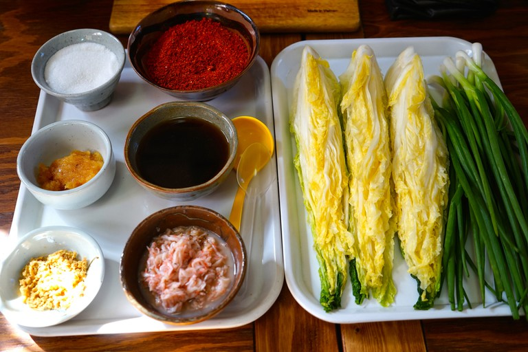 Gochugaru, along with soy sauce and salt, are primary ingredients in kimchi | © Morris Chuang / Flickr