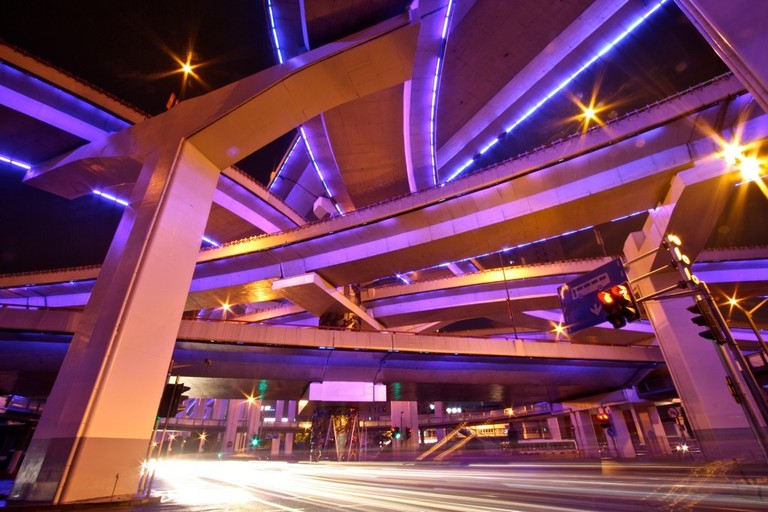Crisscrossing neon highways in Shanghai | ©sung ming whang/Flickr
