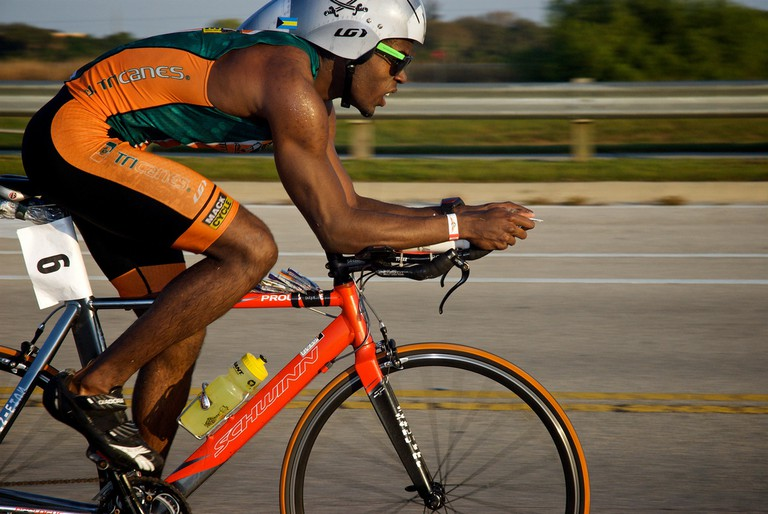 Cycling in the Miami Triathalon