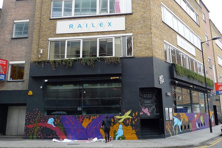 Outside Queen of Hoxton