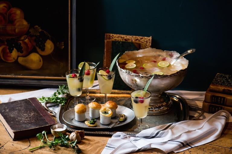 Virginia Woolf Punch Bowl and Escargot Shooters|Courtesy of Patina Restaurant Group