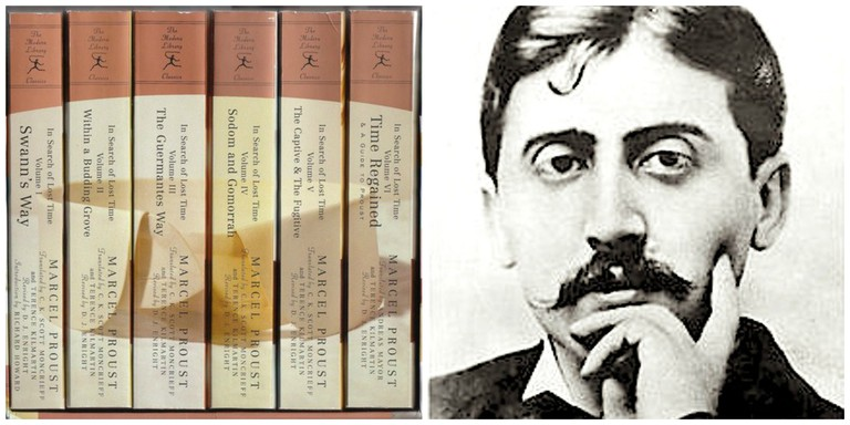 Boxset of Marcel Proust's In Search of Lost Time (1913–1927) │ Courtesy of Modern Library ; Proust in 1900 │© Otto Wegener / Wikimedia Commons