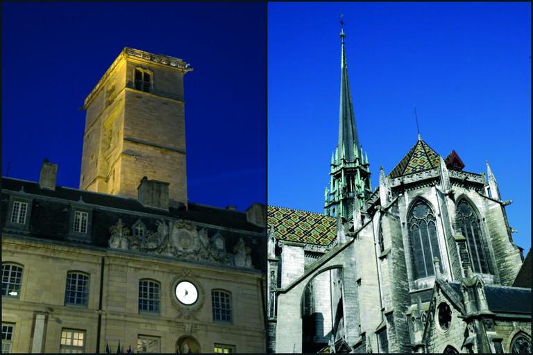 Tour Philipe le Bon (left) and Saint Benigne Cathedral ©OT Dijon/Atelier Demoulin