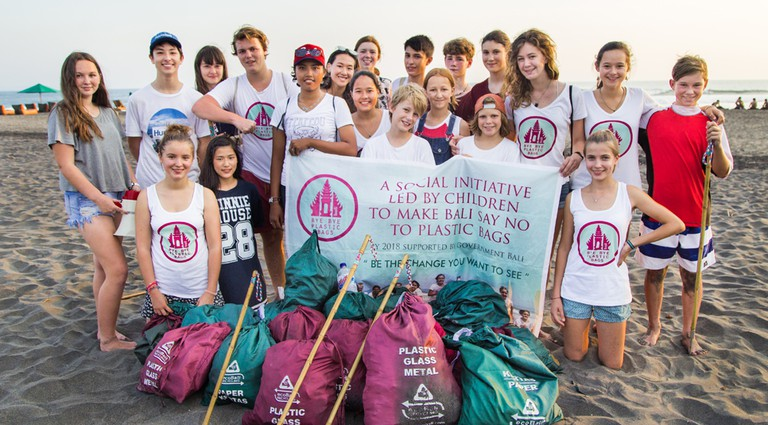 The Bye Bye Platic Bags crew after one of their beach clean ups | Courtesy of Bye Bye Plastic Bags