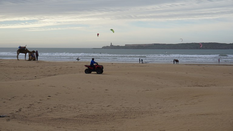 Kite surfing in Essaouira with camels and a quad bike on the sands | © Miguel Discart / Flickr
