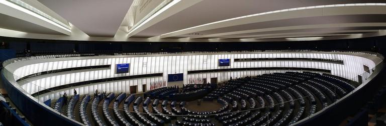 Plenary chamber at the EU Parliament in Strasbourg ©Cherryx/ Wikicommons