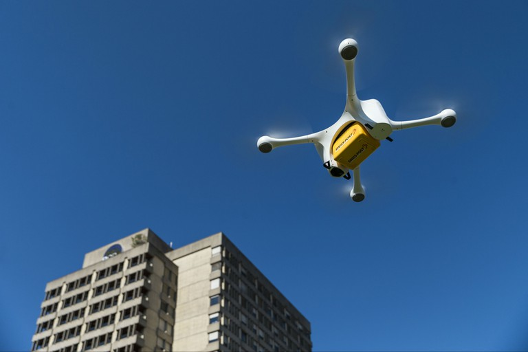 The Mattermark drone in action   Courtesy Swiss Post