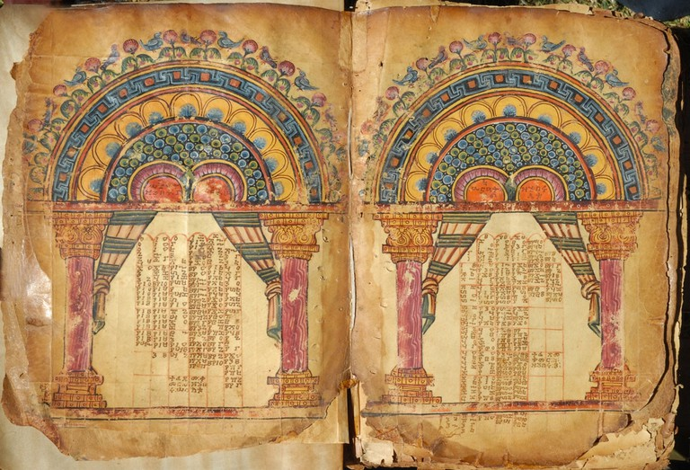 Two pages with illuminated Eusebian Canons from Garima 1, likely the later of the two Garima Gospels | Wikimedia Commons