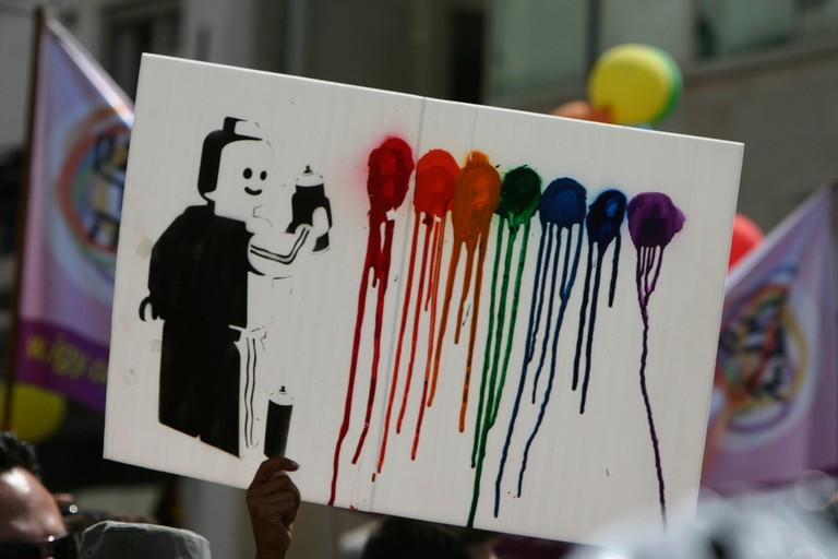 Gay pride graffiti at the gay pride parade | Niv Singer, Flickr