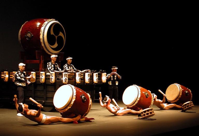 The group Kodo performing a taiko piece