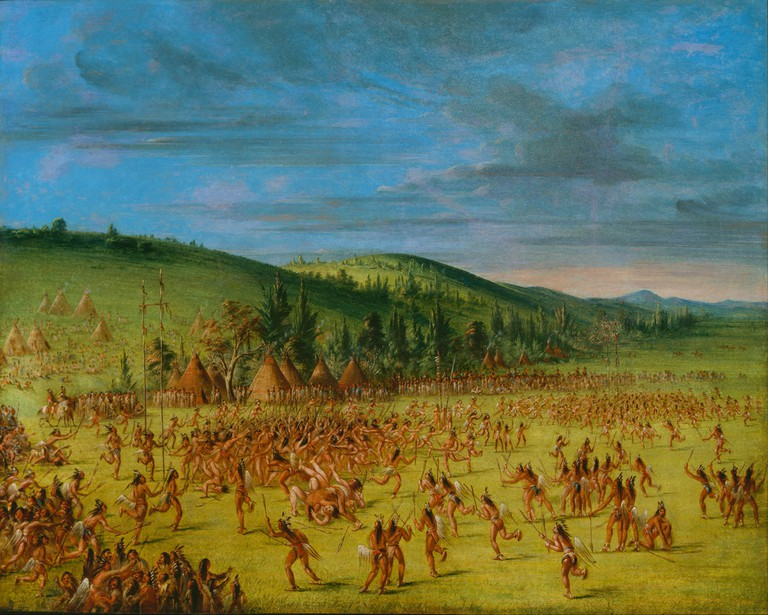 'Ball-play of the Choctaw--Ball Up' (1846-50) by George Catlin | Courtesy of Gift of Mrs. Joseph Harrison, Jr./Smithsonian American Art Museum