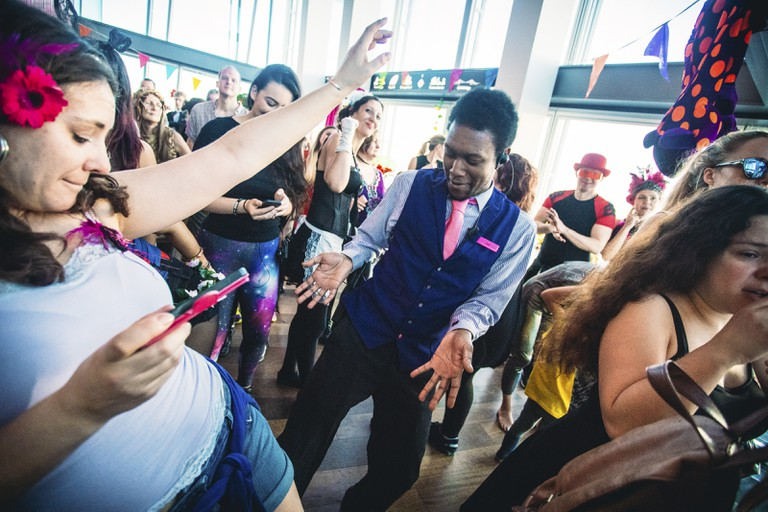 Staff at The View from The Shard getting involved | Courtesy of Morning Gloryville