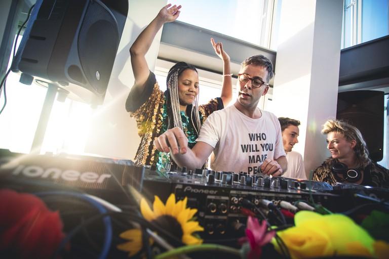 Morning Gloryville founder Samantha Moyo gets behind the DJ decks | Courtesy of Morning Gloryville