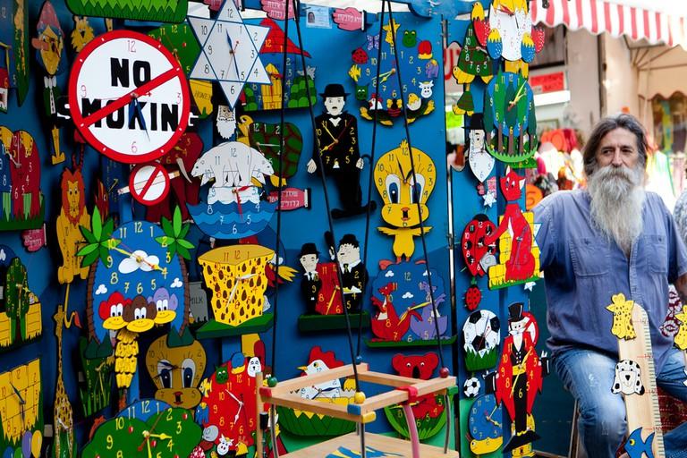Colorful trinkets made by colorful folks at Tel Aviv's Arts and Crafts Market on Nahalat Binyamin