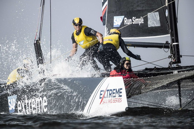 SAP Extreme Sailing Team compete in their GC32 hydro-foiling catamaran during day 2. | © Red Bull Content Pool