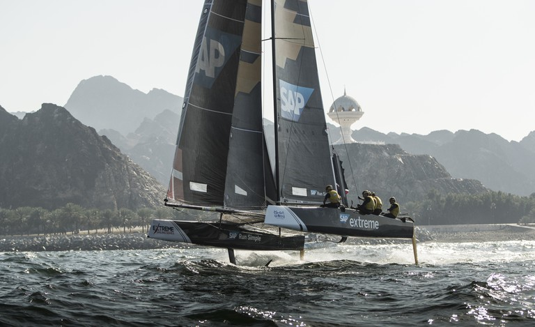 SAP Extreme Sailing Team compete in their GC32 hydro-foiling catamaran during day 1. | © Red Bull Content Pool