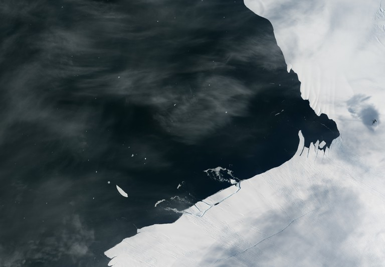 Pine Island Glacier has shed another block of ice into Antarctic waters © NASA Earth Observatory image by Jesse Allen
