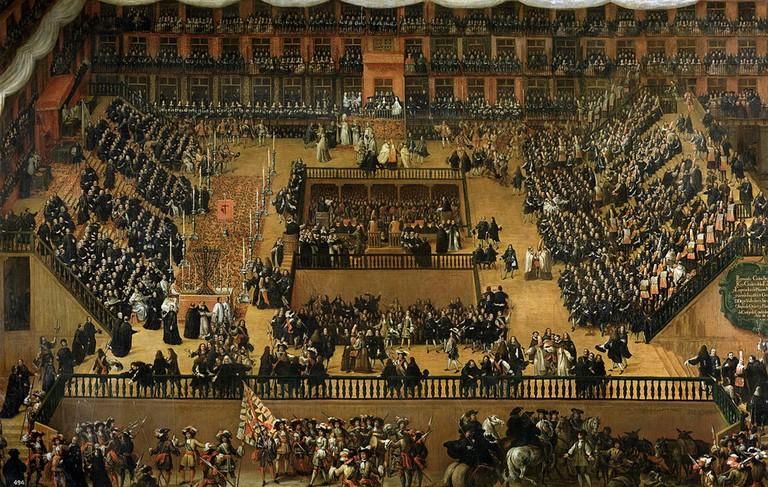 A painting by Fernando Rizi (in Museo del Prado) of Spanish Inquisition trials taking place in the Plaza Mayor in 1680 | © Francisco Rizi/Wikipedia/Museo del Prado