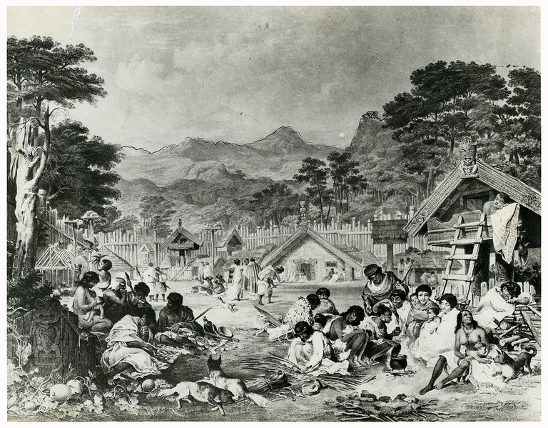 Pūtiki pā on the Whanganui River in 1850 | © Archives New Zealand/Wikimedia Commons