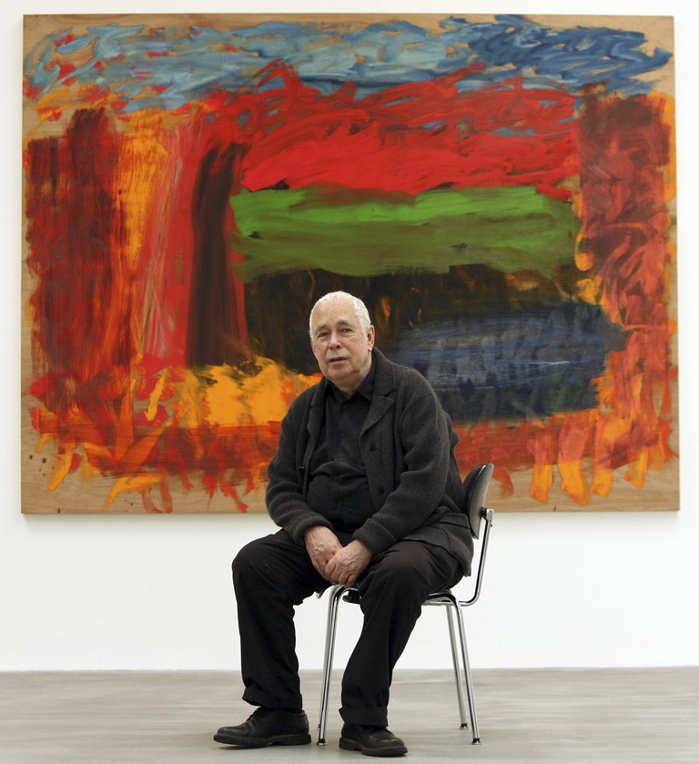 Howard Hodgkin in front of 'Home, Home on the Range' at the opening of his exhibition at the Gagosian Gallery in London   Photo by David Sandison/The Independe/REX/Shutterstock
