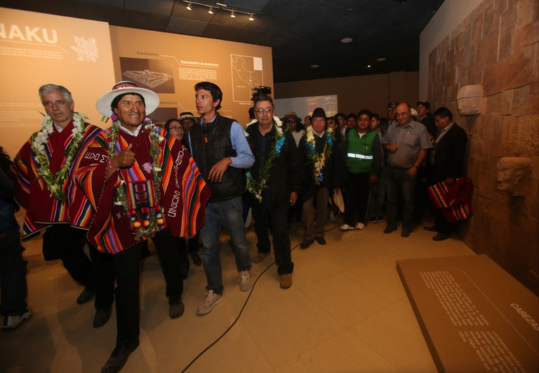 Mandatory Credit: Photo by MARTIN ALIPAZ/EPA/REX/Shutterstock (8254588c) Evo Morales and Alvaro Garcia Linera Evo Morales inauguarated Museum dedicated to his life in his hometown, Orinoca, Bolivia - 02 Feb 2017 Bolivian President Evo Morales (2-L), along with Vice President Alvaro Garcia Linera (L), participates in the inauguration of the 'Museum of the Democratic and Cultural Revolution - Orinoca', in Orinoca, Bolivia, 02 February 2017. Bolivia's President Evo Morales inaugurated the museum in Orinoca, his hometown, which is dedicated to his life, the history of the reforms he has promoted in his country, gifts that he has received through the years of his government and Pre-Hispanic indigenous cultural elements of the region.